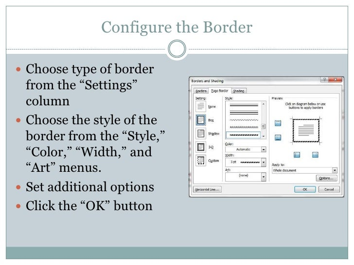 how to add border in word 2010