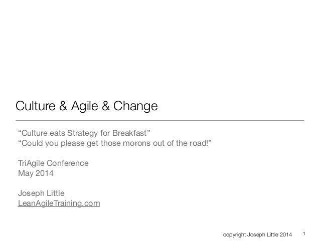 "copyright Joseph Little 2014 Culture & Agile & Change ""Culture eats Strategy for Breakfast""  ""Could you please get those m..."