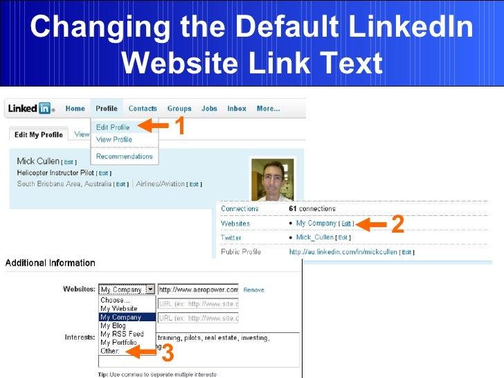 Changing the Default LinkedIn Website Link Text 1 2 3