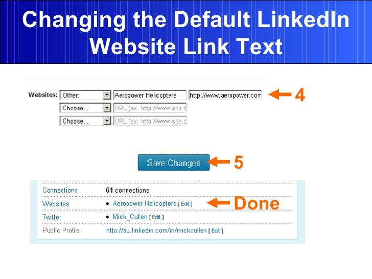 Changing the Default LinkedIn Website Link Text 4 5 Done