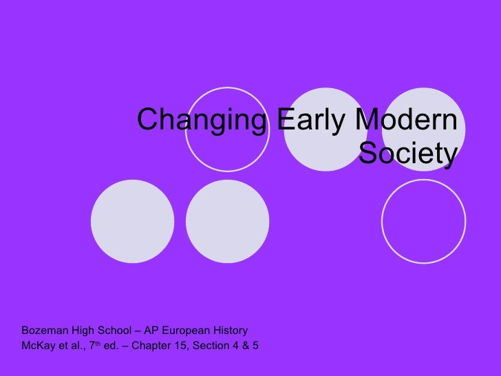 Changing Early Modern Society Bozeman High School – AP European History McKay et al., 7 th  ed. – Chapter 15, Section 4 & 5