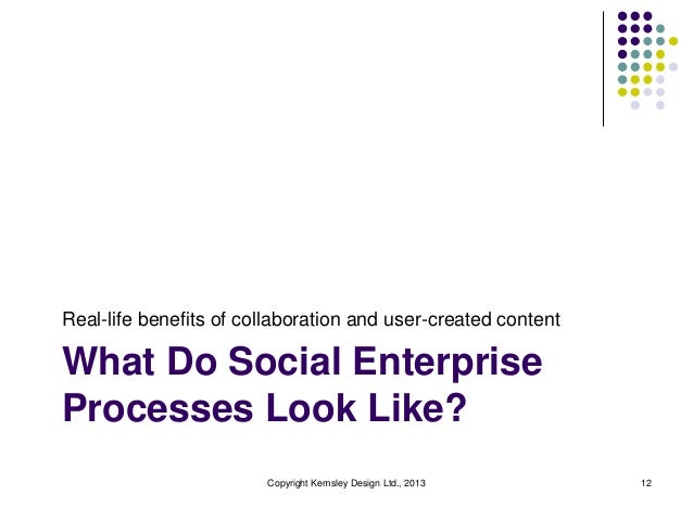 Real-life benefits of collaboration and user-created content  What Do Social Enterprise Processes Look Like? Copyright Kem...
