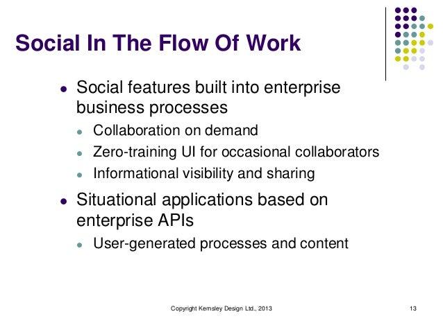 Social In The Flow Of Work l  Social features built into enterprise business processes l l l  l  Collaboration on demand Z...
