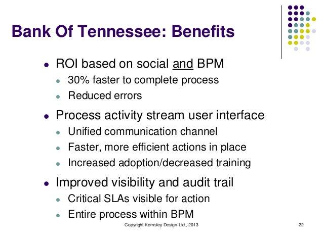 Bank Of Tennessee: Benefits l  ROI based on social and BPM l l  l  Process activity stream user interface l l l  l  30% fa...
