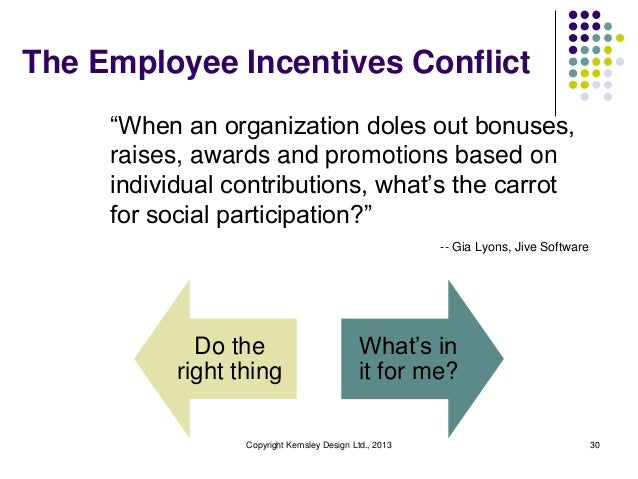 """The Employee Incentives Conflict """"When an organization doles out bonuses, raises, awards and promotions based on individua..."""