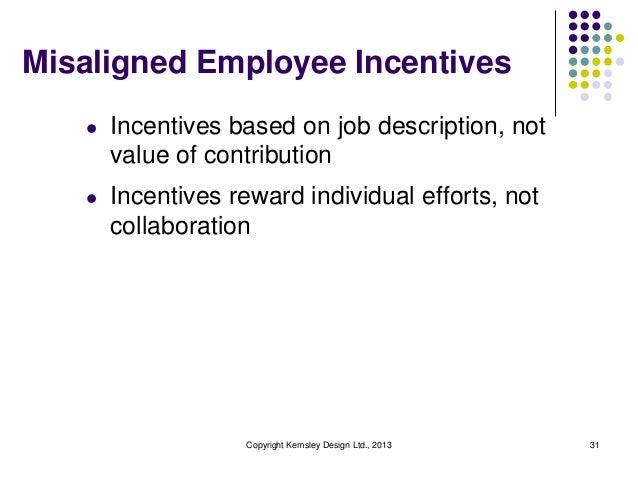 Misaligned Employee Incentives l  Incentives based on job description, not value of contribution  l  Incentives reward ind...