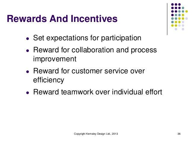 Rewards And Incentives l  Set expectations for participation  l  Reward for collaboration and process improvement  l  Rewa...