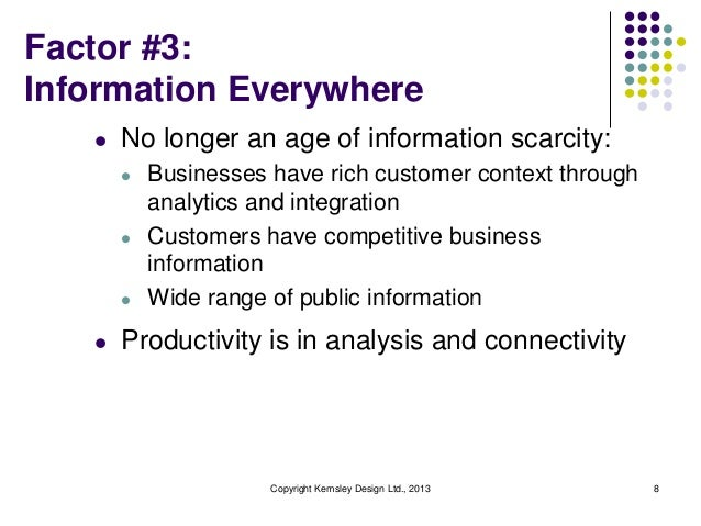 Factor #3: Information Everywhere l  No longer an age of information scarcity: l  l  l  l  Businesses have rich customer c...