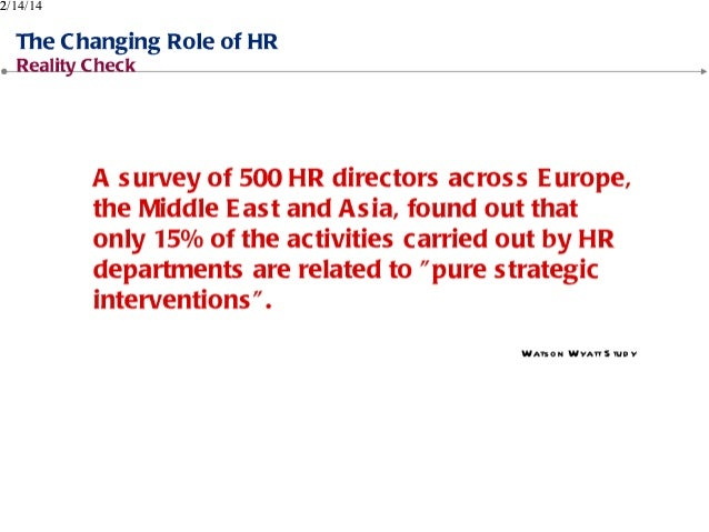 changing role of human resources essay That is, although hrm practices are perceived as sufficient, persons with high anxiety may not have a better sense of fit with the organization and the job it is a necessity that the strategic approach to human resources issues to be addressed in modern organizations changing internal and external environmental conditions.