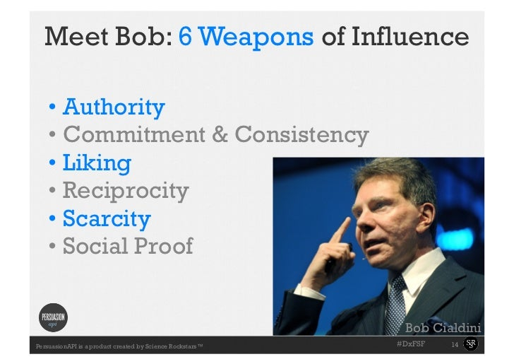 Meet Bob: 6 Weapons of Influence    • Authority    • Commitment & Consistency    • Liking    • Reciprocity    • Scarc...