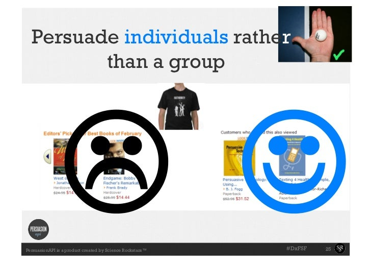 Persuade individuals rather         than a group                 PersuasionAPI is a product created by Science Rockstars...