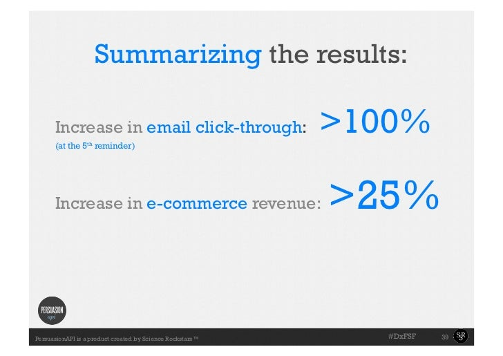 Summarizing the results:     •Slide with the       towell example     Increase in email click-through:      (at the 5th r...