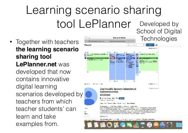 Learning scenario sharing tool LePlanner • Together with teachers the learning scenario sharing tool LePlanner.net was dev...