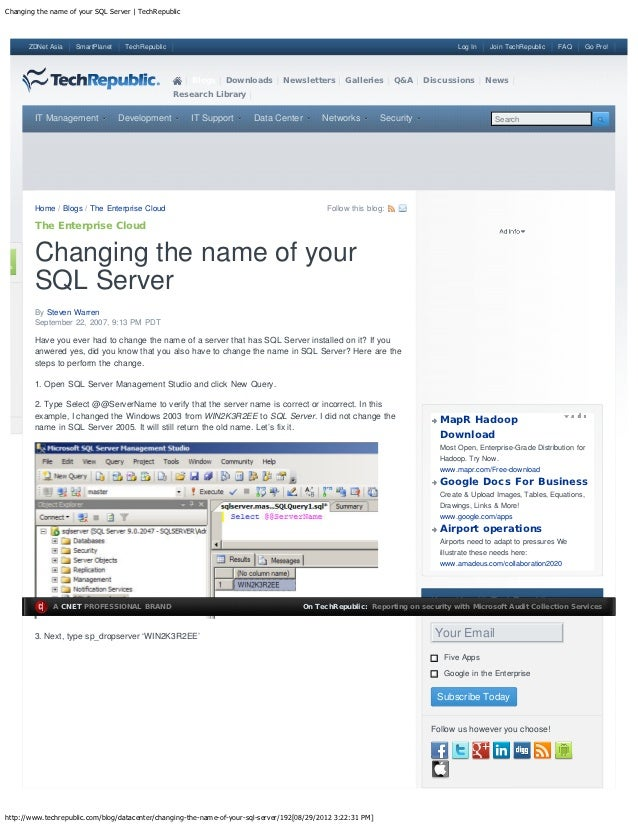 Changing the name of your SQL Server | TechRepublic      ZDNet Asia    SmartPlanet    TechRepublic                        ...