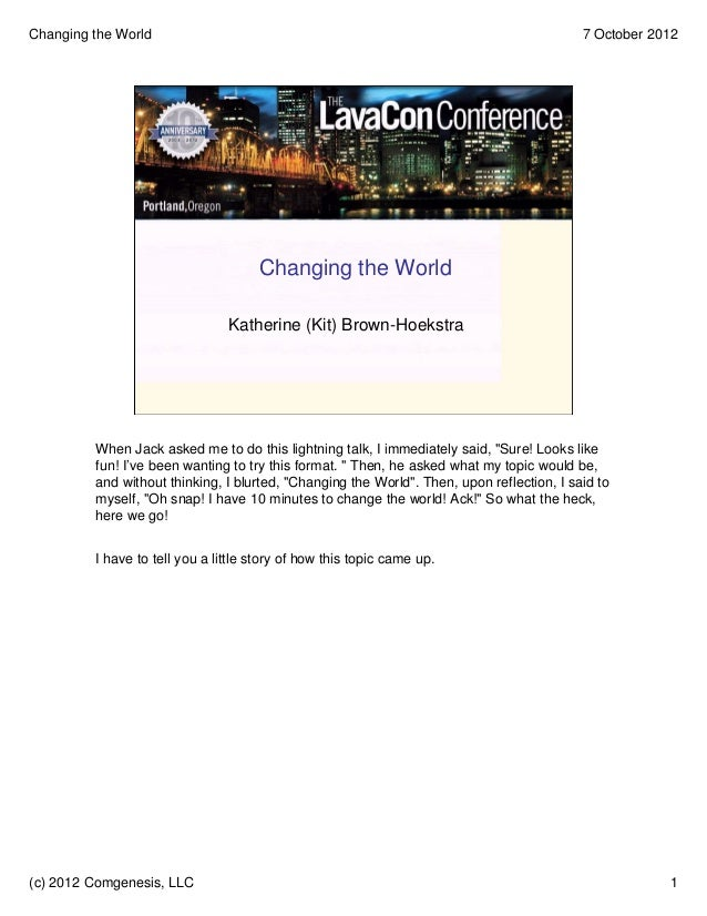 Changing the World                                                                         7 October 2012                 ...