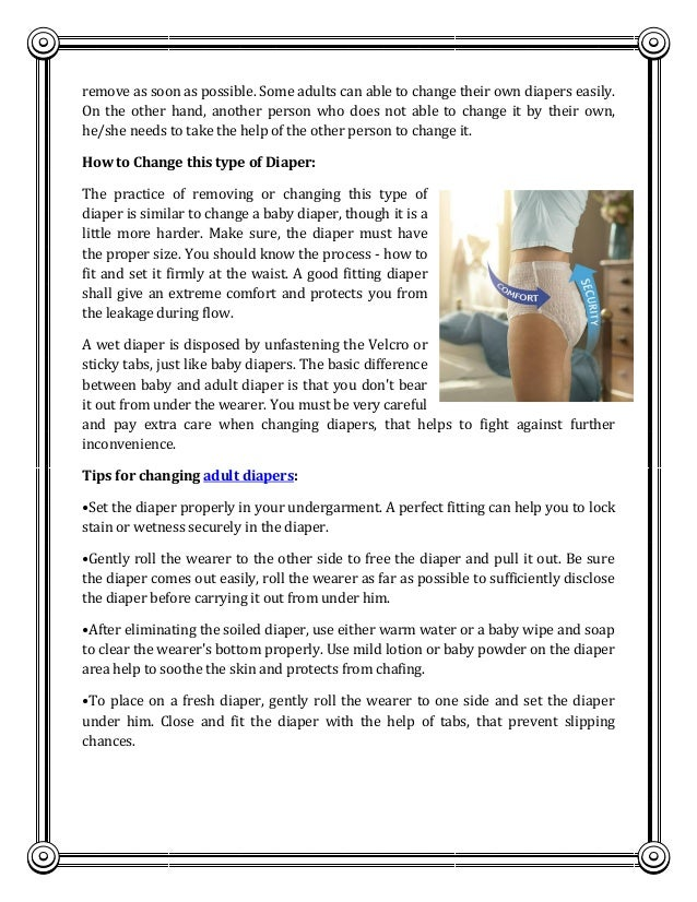 Changing tips for adult diaper