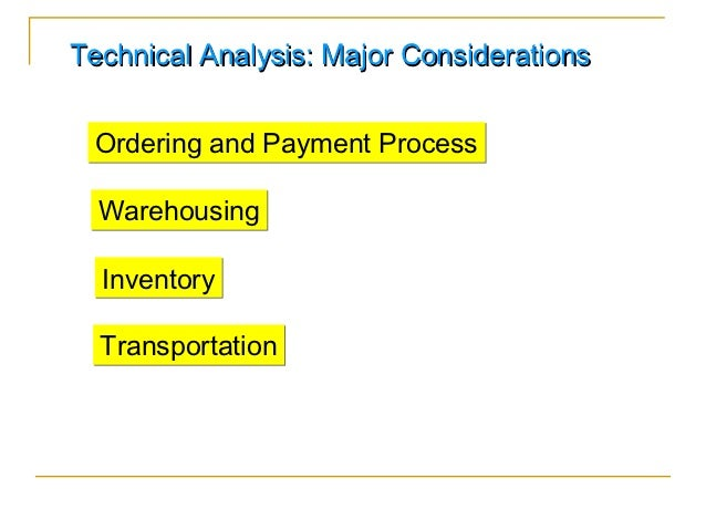 Technical Analysis: Major Considerations Ordering and Payment Process  Warehousing  Inventory  Transportation
