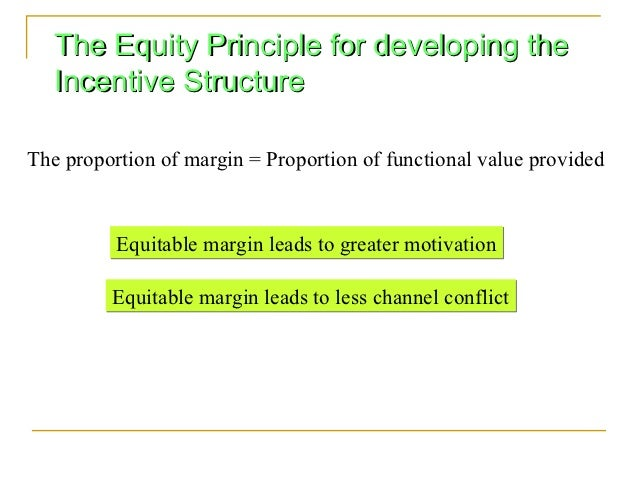 The Equity Principle for developing the   Incentive StructureThe proportion of margin = Proportion of functional value pro...