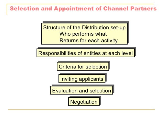 Selection and Appointment of Channel Partners          Structure of the Distribution set-up          Structure of the Dist...