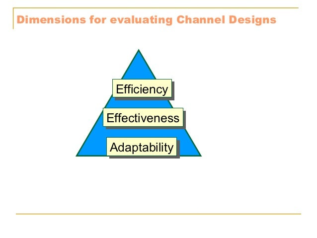 Dimensions for evaluating Channel Designs               Efficiency               Efficiency              Effectiveness    ...