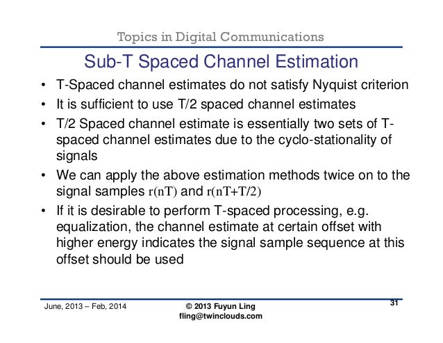 Channel estimation - F. Ling