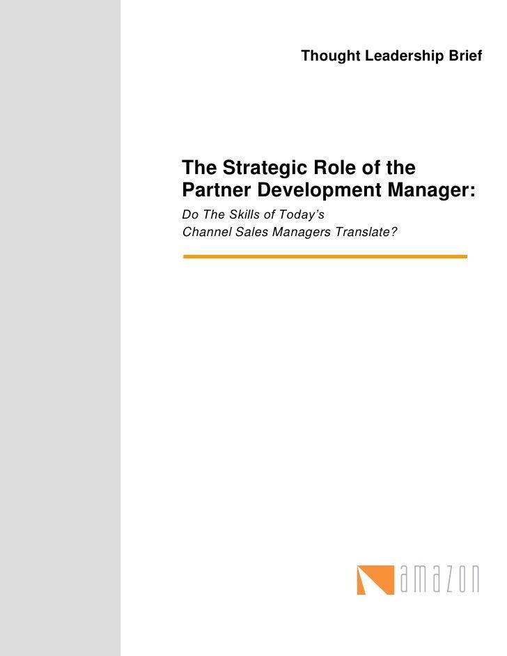 The Strategic Role of the Partner Development Manager Slide 2