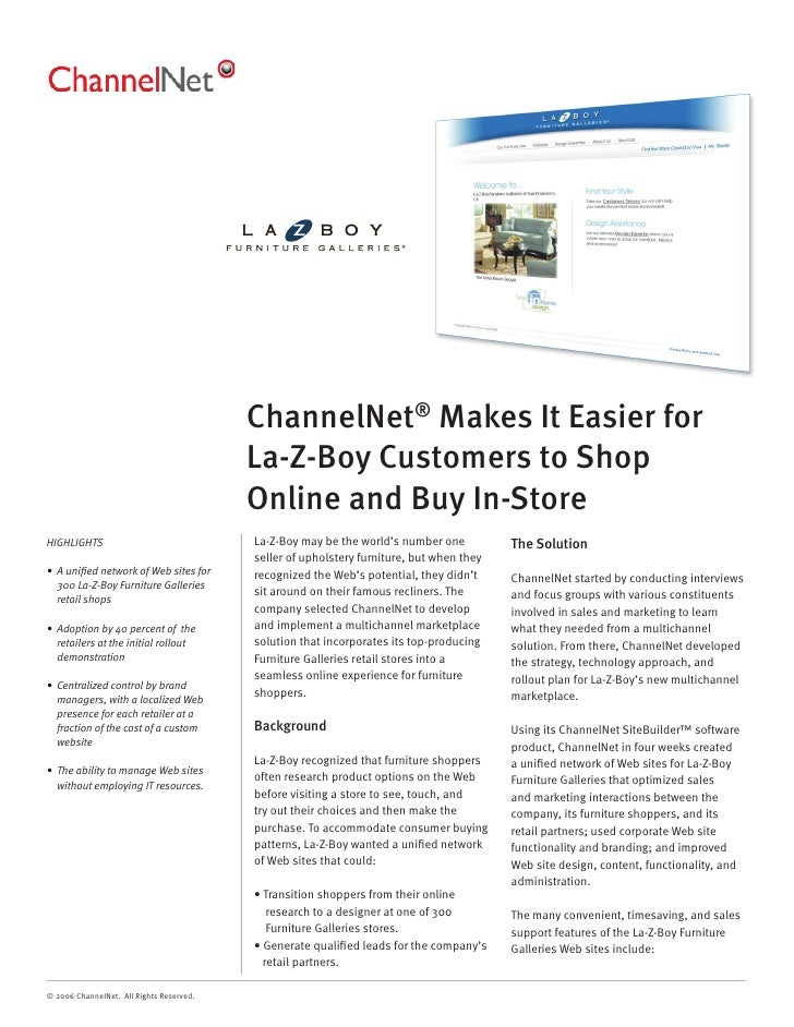 ChannelNet® Makes It Easier for                                           La-Z-Boy Customers to Shop                      ...