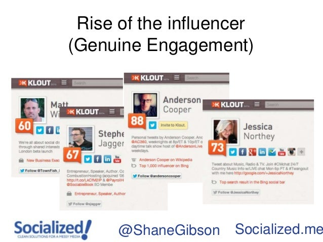 Rise of the influencer(Genuine Engagement)      @ShaneGibson   Socialized.me