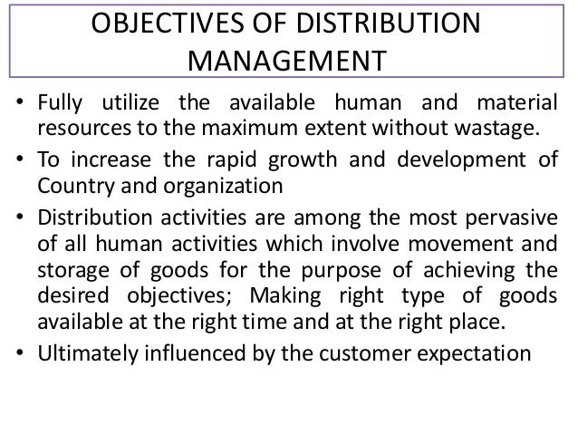 objectives of distribution management