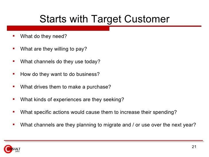 Starts with Target Customer <ul><li>What do they need? </li></ul><ul><li>What are they willing to pay? </li></ul><ul><li>W...