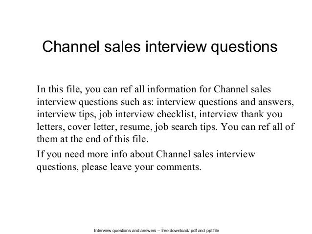 channelsalesinterviewquestions1638jpgcb 1402821964 – What is Channel Sales