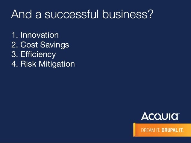 And a successful business?  1. Innovation  2. Cost Savings  3. Efficiency  4. Risk Mitigation