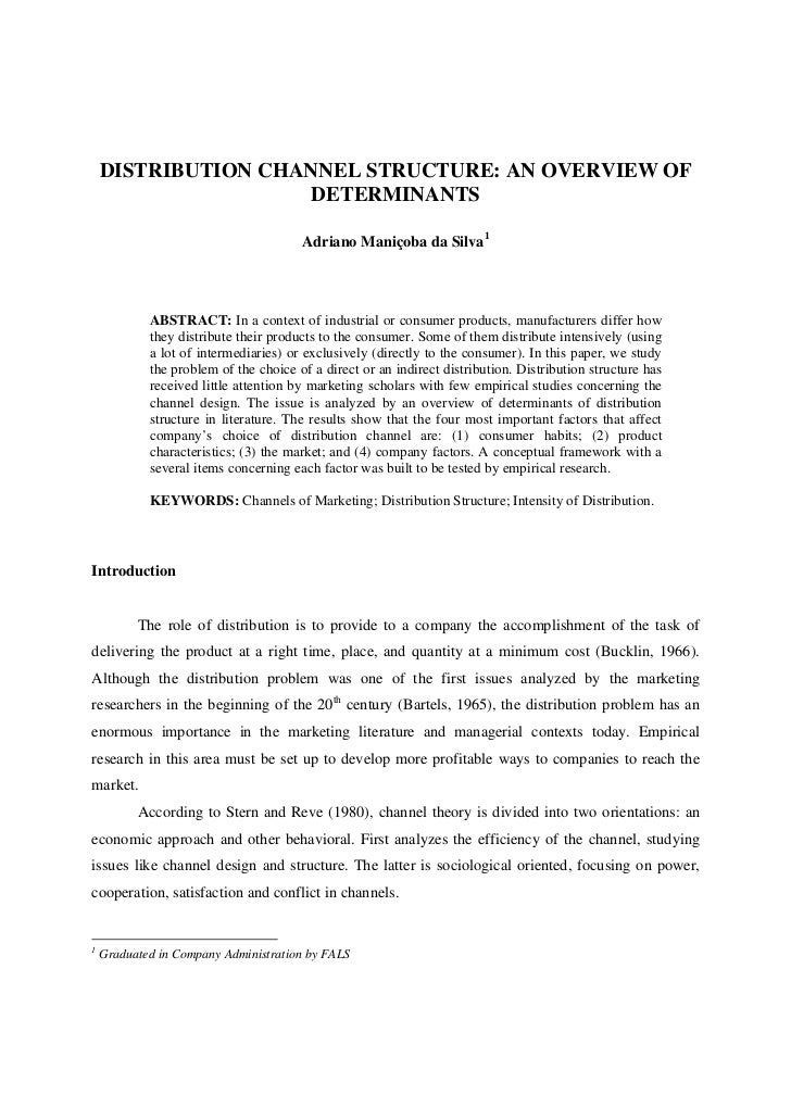 DISTRIBUTION CHANNEL STRUCTURE: AN OVERVIEW OF                     DETERMINANTS                                       Adri...