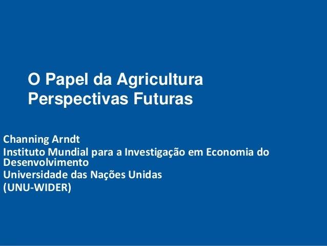O Papel da Agricultura Perspectivas Futuras Channing Arndt Instituto Mundial para a Investigação em Economia do Desenvolvi...