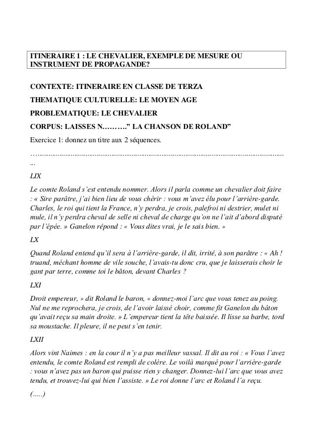 ITINERAIRE 1 : LE CHEVALIER, EXEMPLE DE MESURE OU INSTRUMENT DE PROPAGANDE? CONTEXTE: ITINERAIRE EN CLASSE DE TERZA THEMAT...