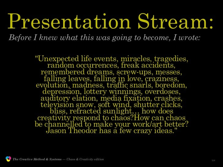 """Presentation Stream:         Before I knew what this was going to become, I wrote:                               """"Unexpect..."""