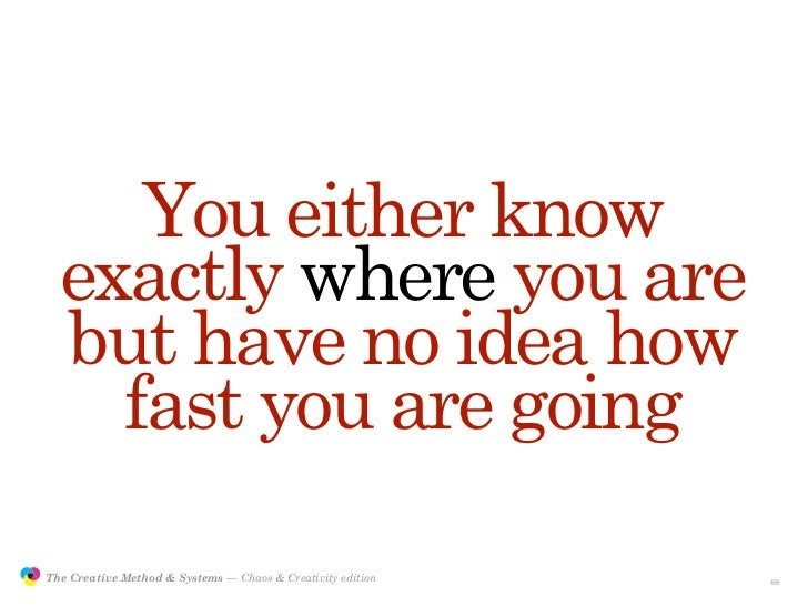 You either know                  exactly where you are                  but have no idea how                    fast you a...