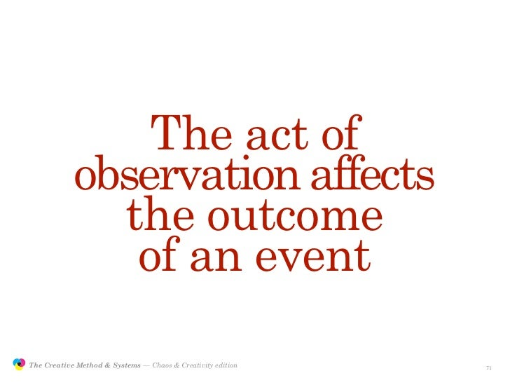The act of                            observation affects                              the outcome                        ...