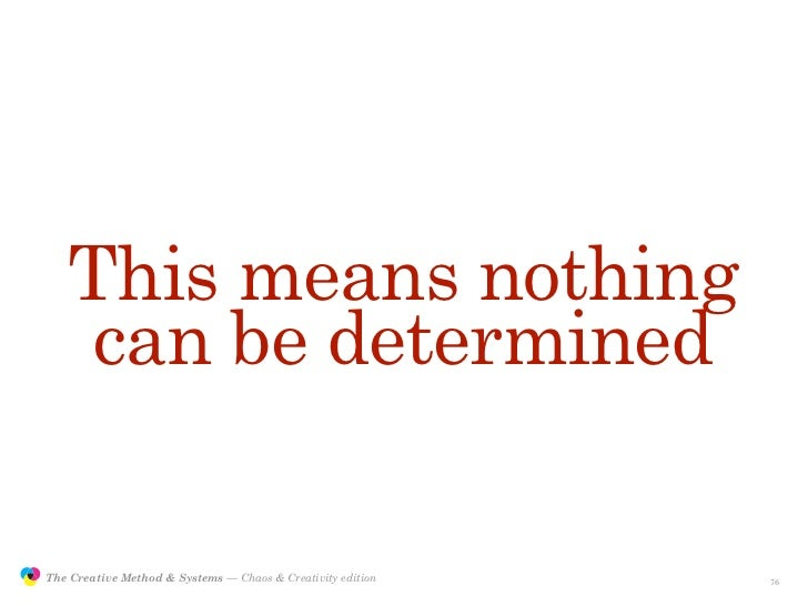 This means nothing                     can be determined                 The Creative Method & Systems — Chaos & Creativit...