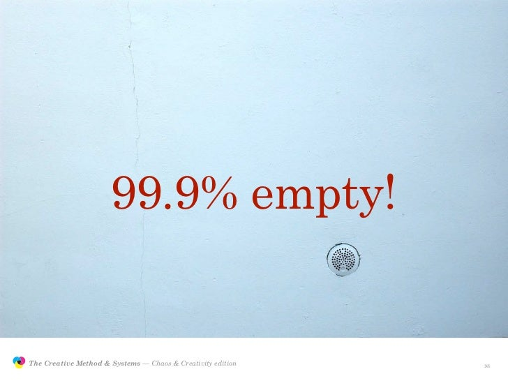 99.9% empty!                  The Creative Method & Systems — Chaos & Creativity edition   the Creative Method  and system...
