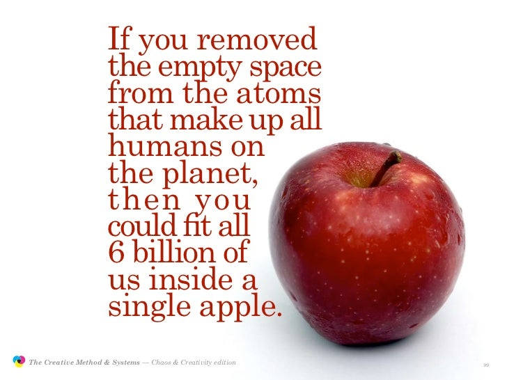 If you removed                                      the empty space                                      from the atoms   ...