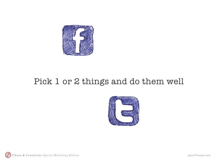 Pick 1 or 2 things and do them well     Chaos & Creativity: Special Marketing Edition       JasonTheodor.com