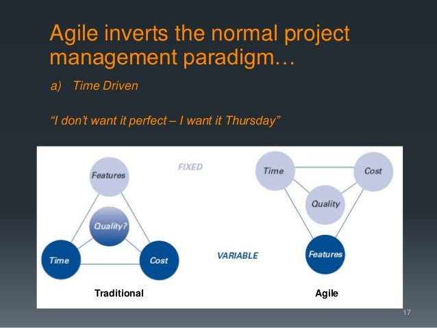 """a) Time Driven """"I don't want it perfect – I want it Thursday"""" 17 Traditional Agile Agile inverts the normal project manage..."""