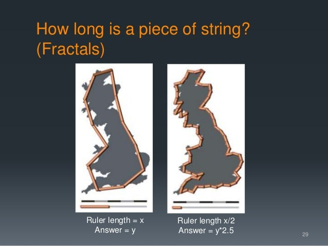 How long is a piece of string? (Fractals) 29 Ruler length = x Answer = y Ruler length x/2 Answer = y*2.5