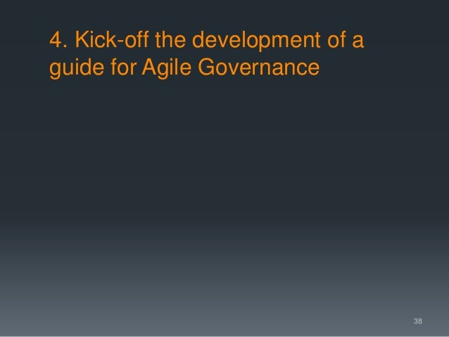 4. Kick-off the development of a guide for Agile Governance 38