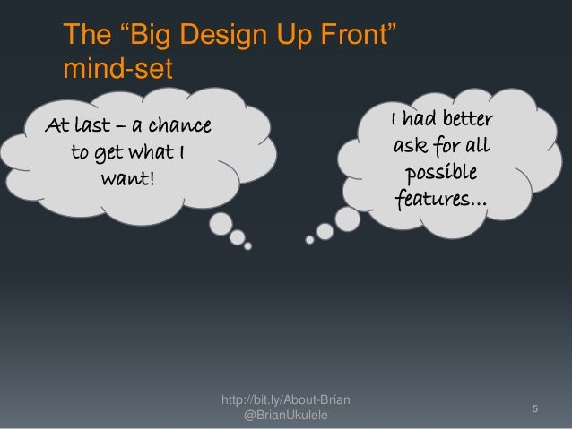 """The """"Big Design Up Front"""" mind-set http://bit.ly/About-Brian @BrianUkulele I had better ask for all possible features… At ..."""