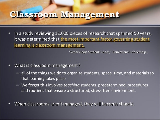 Environments Conducive to Student Learning