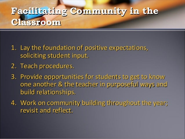 conducive classroom All of these can play a role in determining whether the classroom will be  conducive for learning each may not have a large effect individually,.