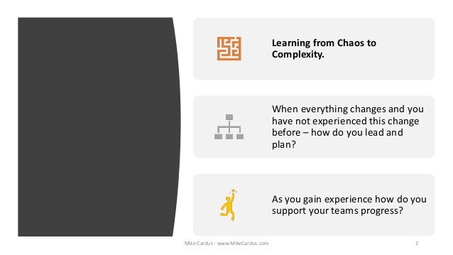 Learning from Chaos to Complexity. When everything changes and you have not experienced this change before – how do you le...