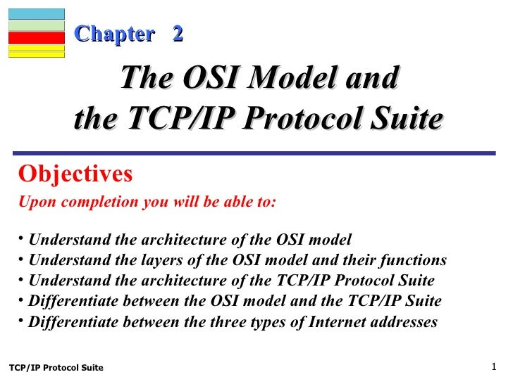 Chapter  2 Upon completion you will be able to: The OSI Model and the TCP/IP Protocol Suite <ul><li>Understand the archite...